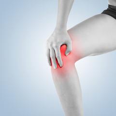 Pain in woman knee.
