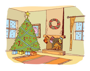 Christmas traditional decorated room