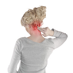 Woman with palm to show pain and injury on  neck area.