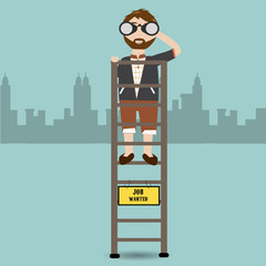 Hipster man find the new job