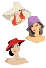 Set di tre donne con cappelli