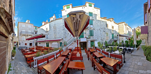 Town of Trogir square panorama