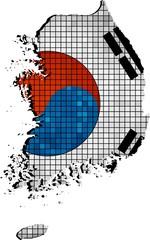 Korea map with flag inside