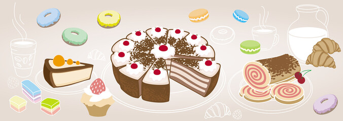 Horizontal set of desserts and pastries, symbolizing a coffee sh