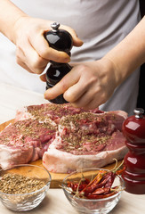 Preparation of lamb with pomegranate in the kitchen