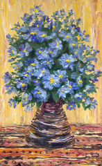 Still life oil painting. Bouquet of blue flowers in a vase