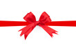 Red ribbon double bow on white background preparation for gift w