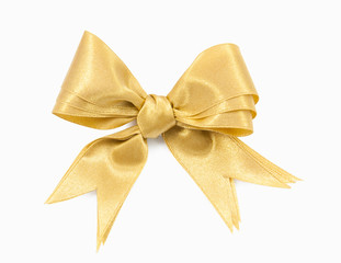 Gold ribbon double bow on white background preparation for gift