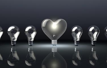 Love Heart Shaped Light Bulb on Dark Background