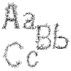 Alphabet in style of a sketch (the letters A, B, C)