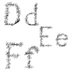 Alphabet in style of a sketch (the letters D, E, F)