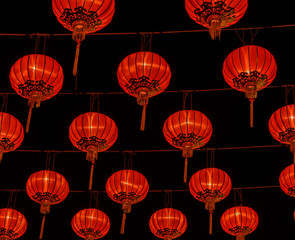 Chinese red lantern illuminated at night