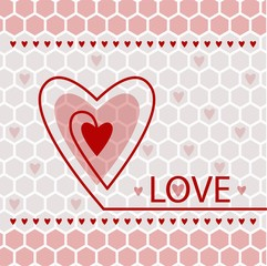 red heart on the decorative background linear card for Valentine