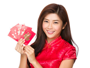 Chinese woman hold with luck money