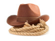brown cowboy hat and rope  on white