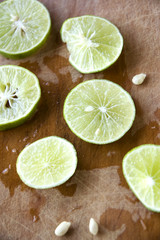 close up slice lime with seed