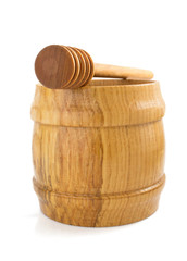 honey pot and stick on white