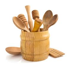 wooden kitchen utensil on white