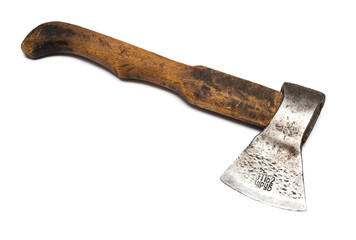 Axe with wooden handle isolated on white