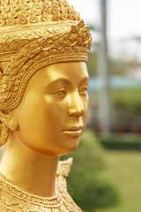Close up face Thai style angel statue, Thailand