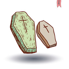 Wooden coffin. vector illustration.