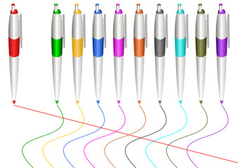 Varicoloured markers.