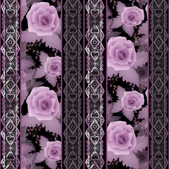 Seamless floral white lace pattern with roses flowers background