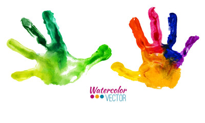 Vector watercolor colorful handprints