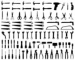 Set of black silhouettes of tools, vector