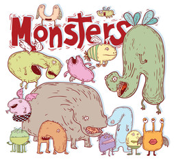 set of cartoon monsters. vector illustration