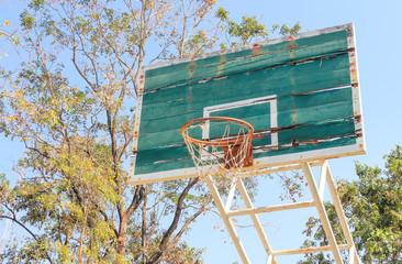 Disintegrated basketball hoop