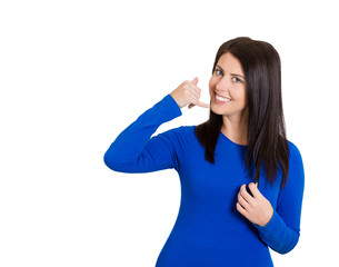 Woman excited happy student, worker making call me gesture sign