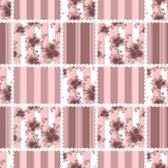 Seamless vintage floral retro colors rose pattern background