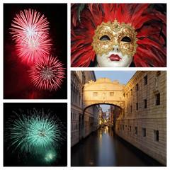 venetian carnival collage