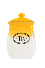 Pot of tea, yellow-white color on a white background