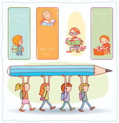 Back to school, Banners and Bookmarks, vector illustration.