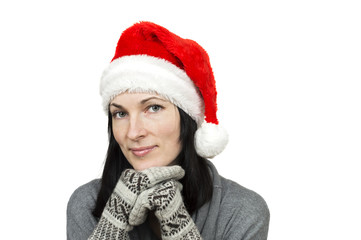 pretty woman wearing santa hat isolated over white