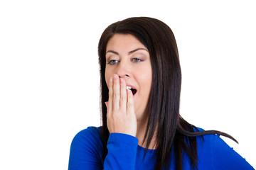sleepy young business woman yawning long working hours