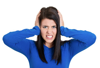 angry unhappy stressed woman covering her ears
