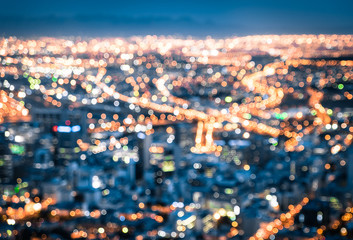 Bokeh of Cape Town skyline from Signal Hill after sunset