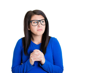 nerdy looking woman with black glasses timid shy anxious