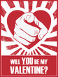 Valentine's day funny poster or postcard with hand pointing and - 75461288