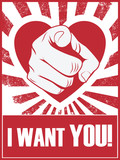 Valentine's day funny poster or postcard with hand pointing and - 75461242