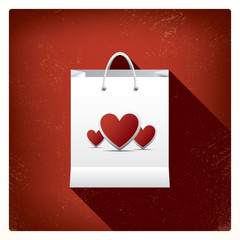 Valentine's day sales or shopping posters with shop bags and