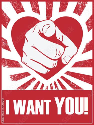 Valentine's day funny poster or postcard with hand pointing and