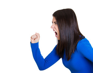 headshot angry young woman screaming arms up in air