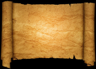 Scroll of old crumpled paper.