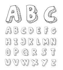 Hand drawn alphabet. vector