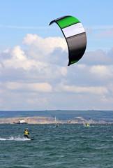 kitesurfer in Portland Harbour
