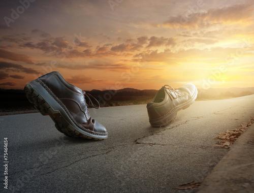 Leinwandbild Motiv Boots walking